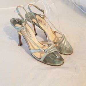 Jimmy Choo strappy heels metallic